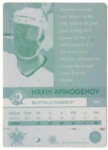 2001 Vanguard, Maxim Afinogenov, Buffalo Sabres, Printing Plate 1/1 NHL Card