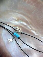 KARMASTRING  3 pack black string turtle turquoise beads & star bracelets anklets