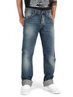 Nudie Herren Regular Straight Fit Bio Denim Jeans | Average Joe Dusty Navy Embo