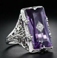 Fashion Women 925 Silver Jewelry Mystic Topaz Wedding Engagement Ring Size 6-10