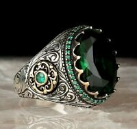 Turkish 925 Sterling Silver NEW green emerald stone mens Lux ring ALL SİZE us