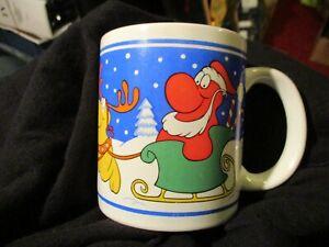 WILLY WONKA NERDS CANDY CHRISTMAS SLEIGH  & NERDS REINDEER VINTAGE 1984 CUP MUG