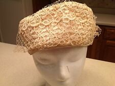 Vintage Ladies Hat Ivory Lace with Netted Inside and Ivory Veil Different