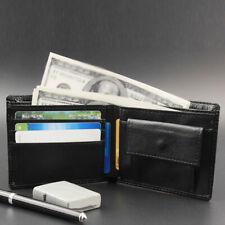 Men Bifold Purse Cash Pocket ID Card Holder Genuine Leather Clutch Wallet Black