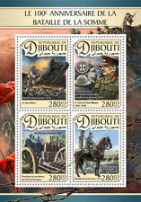 More details for djibouti military stamps 2016 mnh wwi ww1 battle of somme tanks horses 4v m/s