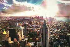 Aerial View of Empire State Building, Manhattan, New York City, Sky --- Postcard