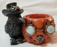 Yankee Candle STEAMPUNK PUMPKIN RAVEN Tea Light Holder Orange Black Halloween