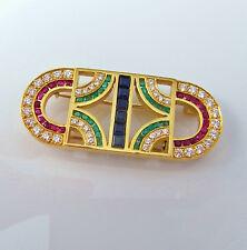 Art Deco Inspired 1980s Ruby Sapphire Emerald Diamond 18K Gold Pendant Brooch