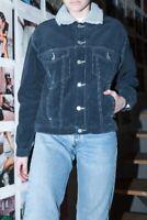 Brandy Melville navy blue button up Kaylee fur corduroy jacket NWT sz S