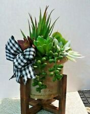 crafted artificial  7 succulent arrangement and wood  stand- blk & wht check bow