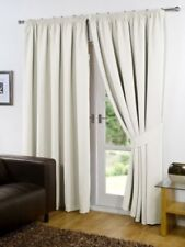 Faux Silk Fully Lined Eyelet Ring Top or Pencil Pleat Curtains with Tiebacks