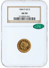 1844-D NGC AU50 $2.5 CAC Liberty Head Quarter Eagle