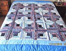 Twin,Full Size Blues Log Cabin Quilt Coverlet,Bedspread,Wall Decor 78 x 78