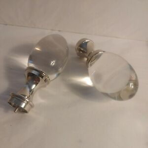 """Set Of 2 Pottery Barn Clear Glass Oval Finials 1.25"""" Silver Chrome Color. NEW"""