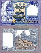Nepal 1 rupee Banknote World Paper Money Currency Pick p37 Bill Musk Deer - King