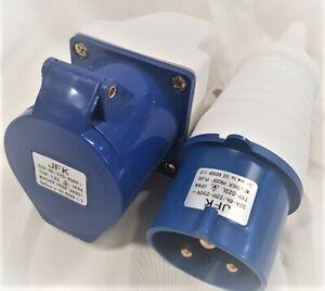 32 amp plug and wall mount socket 3 pin IP44 rated, caravan camping parks etc
