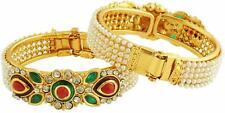 NEW  Antique  Design Wedding Gold Plated Bangles Kada Meenakari Stones Set USA