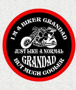 "BIKER GRANDAD 4"" BIKER BADGE PRINTED SEW ON CLOTH BADGE MOTORBIKE"