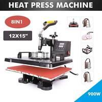 8 in 1 Transfer Heat Press & Digital Sublimation Machine 12x15' Cap Hat T-Shirt