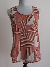Mine Sheer Tank Top Shirt Sleeveless Brown Cream Summer Casual Geometric Small S