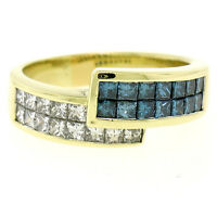 18K Yellow Gold 1.55ctw Invisible Blue & White Princess Diamond Bypass Band Ring