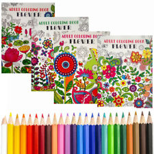 4 Grown Up Adult Coloring Books Floral Flowers Patterns + BONUS COLORED PENCILS