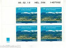 2010//ADHESIF N°469//RATTACHEMENT DE NICE//COIN DATE//BLOC DE 4 TIMBRES