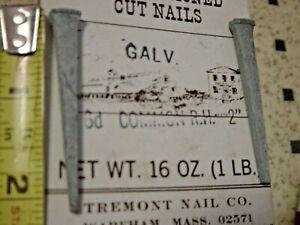 """Furniture Restoration Tremont 20 Pc Lot 2.25"""" Galvanized Cut Nails 6D Common RH2"""