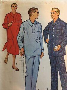 1958 McCalls 4815 VTG Sewing Patterns Mens  Pajamas Coat Nightshirt Size 38 40