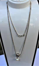 Retired Design Sterling Silver Pandora Pendant on Chain, Pearl Drop, Scarce!