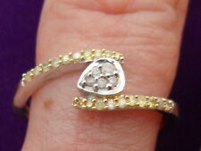 Genuine Natural Yellow Diamond Ring with White Diamond in Sterling Silver 0.17ct