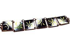 "Vintage 8"" STUDIO Modernist ENAMEL ON COPPER Abstract HANDMADE Panel Bracelet"