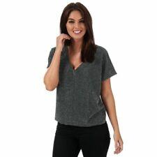 Women's Vero Moda Githa Glitter Loose Fit V Neck Short Sleeve Top in Black