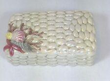 Enesco Dresser or Trinket Box Sea Shells Lusterware Ivory Pink Yellow Mauve Gray