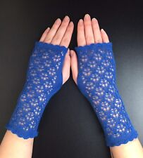 Stunning  100% Pure cashmere lace fingerless gloves. Col. Boston blue