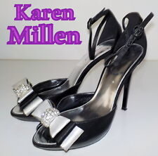 "Luxury ""Karen Millen"" Black Leather Swarovski  SANDALS  Shoes UK 5 EU 38 £215"