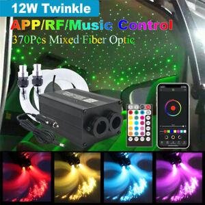 370Pcs Twinkle Fiber Optic Light Kit Car Star Headliner Ceiling Lamp BT APP 12W