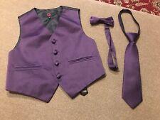 Brand Q Kid's Tuxedo Vest, Neck Tie  & Pre Tied Bow Tie Purple US Size 4 (JL)