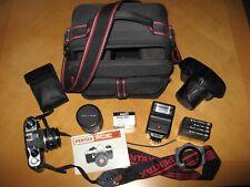"Used Vintage Pentax ""ME Super"" Film Camera Kit - lenses, filters, flashgun, case"