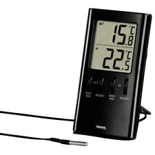 Hama Pantalla LCD Temperatura Interior Al Aire Libre Con Sensor De Cable Cable Negro