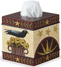 Primitive Country Rustic Colorful Resin Folk Crow Tissue Box Cover