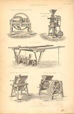 1874 stampa ~ AGRICOLTURA TURNER'S Frantumatore RAPE TRAPANO bornsby radice spappolaradici
