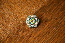 Vintage Italian Pin Round Brooch Glass Millefiori Millifiori Mosaic Floral Micro
