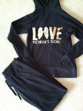 Victoria's Secret Black Angel Wings Gold Sparkly Tracksuit Pants Hoodie Jacket S
