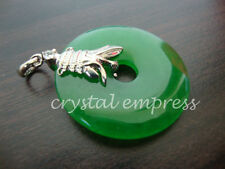 FENG SHUI - JADE DISC PENDANT WITH VICTORY BANNER (WHITE GOLD PLATED)