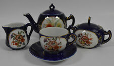 Tea Set Cobalt Blue with Flower Accent Made by Berolina