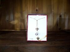 10 KARAT GOLD CUBIC ZIRCONIA WOMENS  HEART SHAPED NECKLACE 17 INCH CHAIN LIMITED