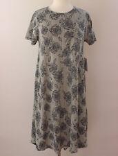 XL LuLaRoe Carly Dress Beautiful Floral Roses Stripes Black Cream Rare ! NWT 76