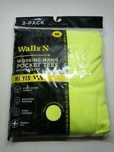 2-pack Walls Hi-Vis YELLOW Man's Medium Pocket Short Sleeve T Shirts.
