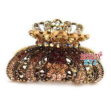 New Brown Rhinestone Imperial crown design high quality metal Hair Claws Clip